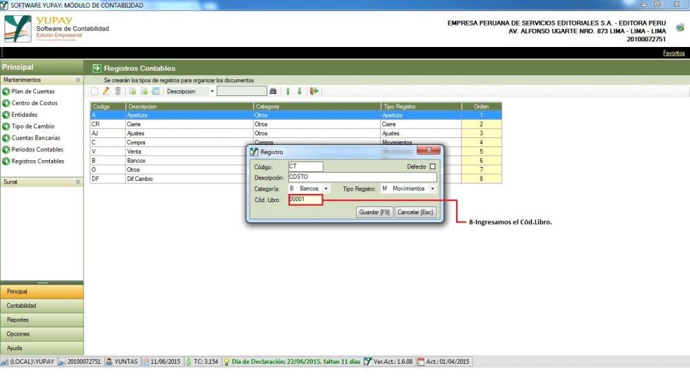 Crear Nuevo Registro Contable