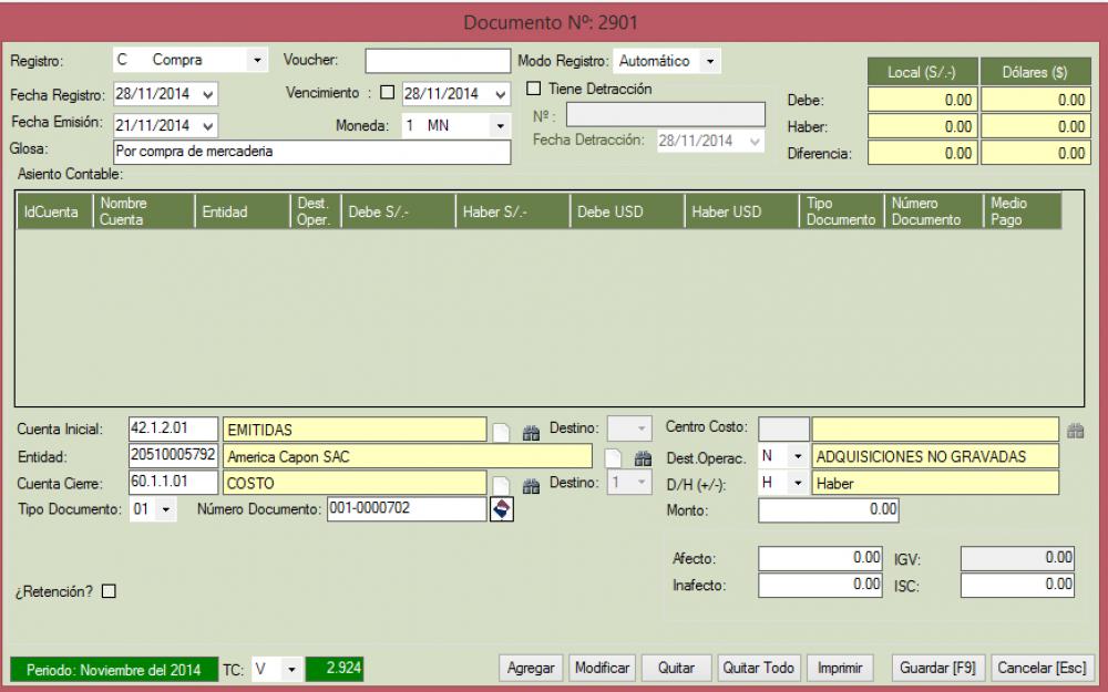 Cómo registrar una Factura de Compra de Mercadería, que es Transferencia Gratuita.