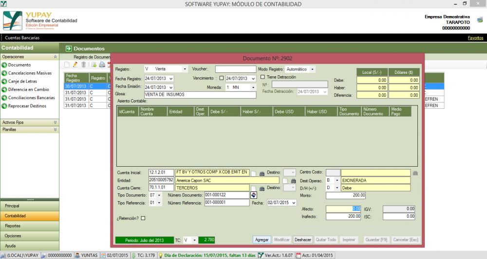 Cómo registrar de una Nota de Crédito, a un Cliente Exonerado del IGV
