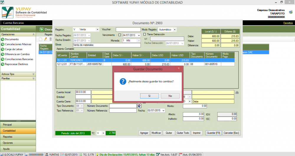 Cómo registrar una Nota de Débito, a un Cliente Exonerado del IGV