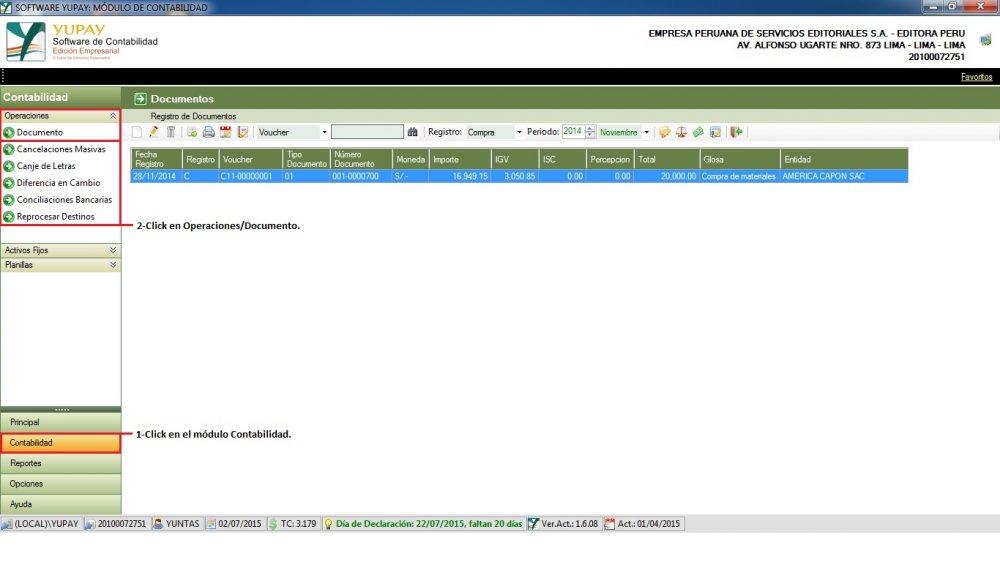 Cómo registrar una Factura de Compra de Mercadería, realizada en la Selva para ser vendida en la  misma.