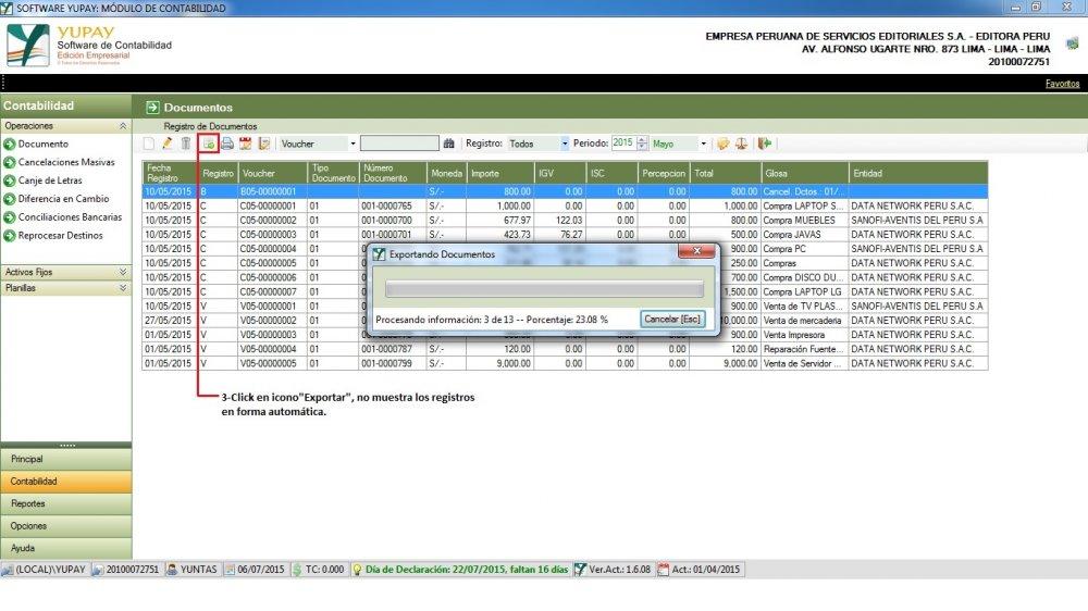 Gestión de Documentos : Compra de Mercadería - Exportar a Excel