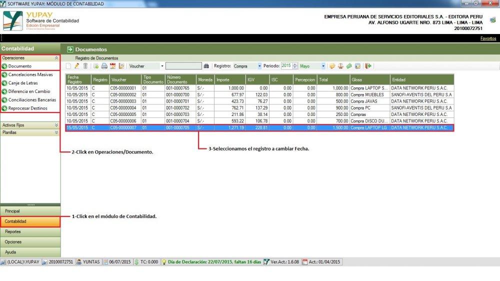 Gestión de Documentos : Compra de Mercadería - Cambiar Fecha