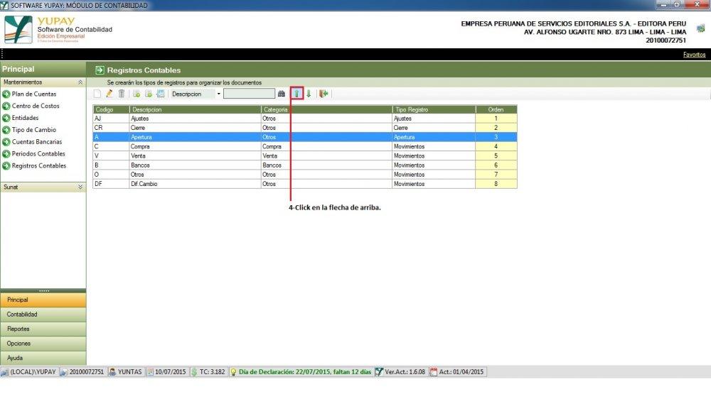 Registro Contable - Subir Orden